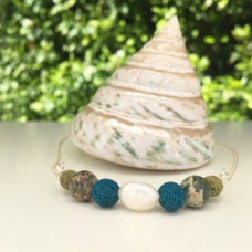 Blue and white FWP Diffuser Necklace
