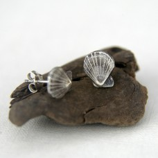 Fan Scallop Silver Studs