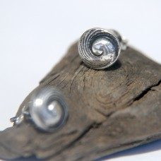 Silver Shell Stud Earrings - Imbricate Pearl Shell