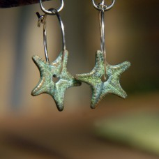Bronze Starfish Hoop Earrings