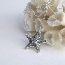 Large Silver Starfish Necklace