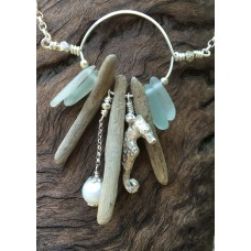 Seahorse Pearl and Driftwood Necklace