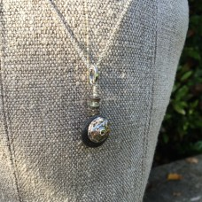 Silver Turbot Shell Charm Necklace On Black Pebble with Abalone beads