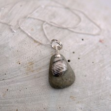 Stripy Shell on Grey Pebble Necklace