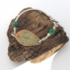 Bronze Fern Leaf Bracelet with Green Turquoise