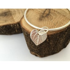 Silver Heart Shaped Leaf Charm Bangle