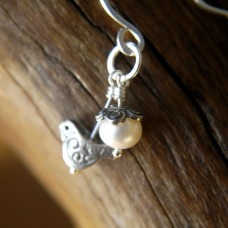Bird and Blossom Earrings with Pearls