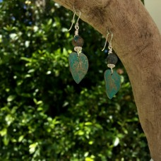 Bronze Curved Leaf Earrings with Rainbow Calconite and Silver Spacers