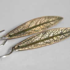 Bronze with Dark Green Leaf Earrings