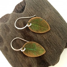 Simple Green Leaf Earrings in Silver and Bronze