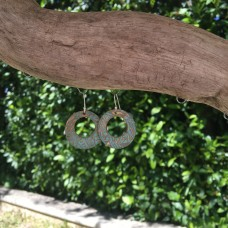Large Bronze Patterned Donut Earrings