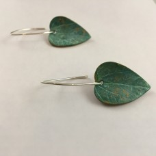 Large Bronze Leaf Earrings Curved