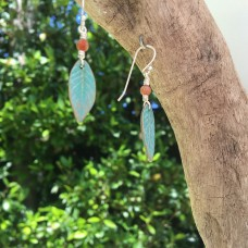Little Bronze Leaf Earrings with Rainbow Jasper