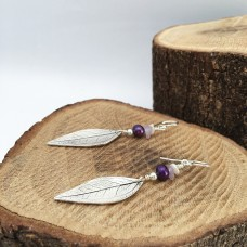 Long Silver Leaf Earrings With Purple and White Pearls and Amethyst