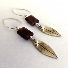 Silver Leaf Earrings with Red Agate