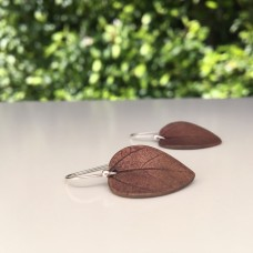 Red Bronze Leaf Earrings Curved