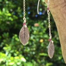 Silver Dangly Oregano Leaf Earrings with Garnet