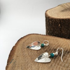 Silver Leaf Earrings with Turquoise Curved
