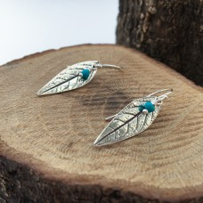 Silver Leaf Earrings with Turquoise Dangle