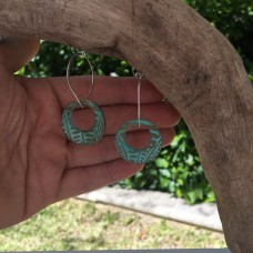 Small Bronze Patterned Donut Earrings