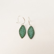 Simple Bronze Leaf Earrings Small