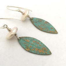 Bronze and Gold Spotty Leaf Earrings