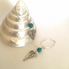 Stunning Leaf Earrings with turquoise