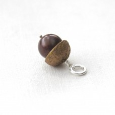 Acorn Charm - Bronze and Pearl