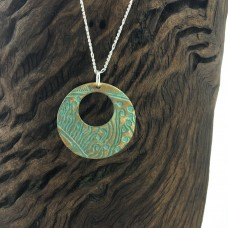 Long Bronze Patterned Donut Necklace