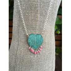 Heart Shaped Gumleaf Necklace with Rhodocrosite Beads