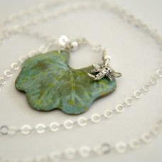 Lily Pad with Dragonfly Long Necklace