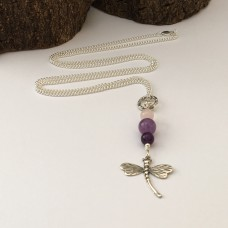 Long Dragonfly Necklace with Amethyst and Rosequartz