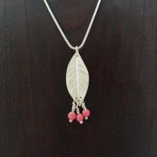 Long Silver Leaf Necklace with Pink Popping Rhodosocrite Beads