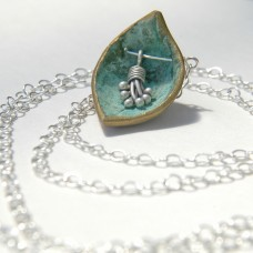 Long Turquoise Petal Necklace