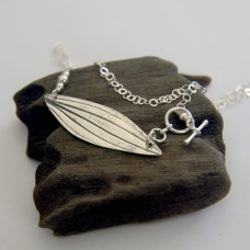 Stripy Silver Leaf Necklace